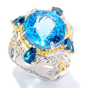 127-015 - Gems en Vogue II 7.50ctw Swiss Blue Topaz, London Blue Topaz & Sapphire Ring