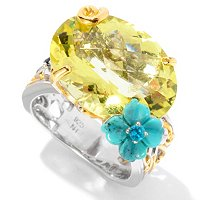 "SS/PALL RING 18x13MM OURO VERDE w/ CARVED TURQUOISE & NEON APATITE ""HAWAIIAN"""