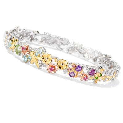127-021 - Gems en Vogue II 1.31ctw Multi Gemstone Critter Hinged Bangle Bracelet