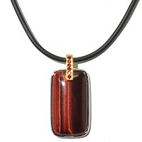 "MEN'S - SS/PALL PEND TIGER'S EYE & GARNET w/ 22"" RUBBER CORD"