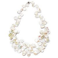 "SS 22"" 14-16mm WHITE KESHI NESTED NECKLACE w/MAGNETIC CLASP"
