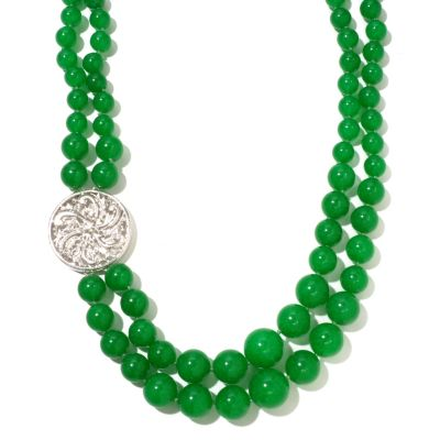 "127-043 - Sterling Silver 23"" Green Jade Double Row Necklace w/ Medallion"
