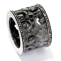 SS/BLACK PLATED 16mm CARVED JADE & WHITE TOPAZ RING