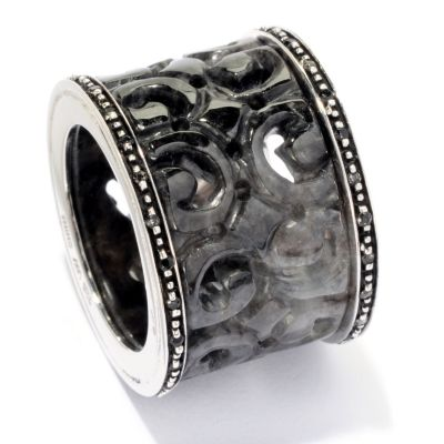 127-044 - Sterling Silver 13mm Carved Jade & White Topaz Wide Ring