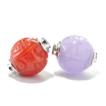 127-047 - Set of Two Sterling Silver 12mm Hand Carved Jade Charm Beads