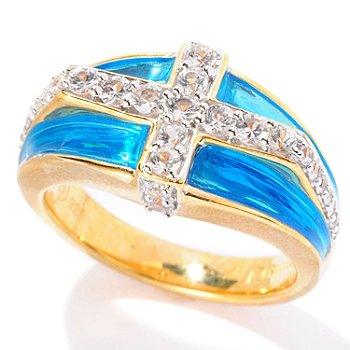 127-052 - Omar Torres White Sapphire & Blue Enamel Cross Design ''Athos'' Ring