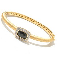 SS/18KV BRAC BLACK SPINEL & WHT SAPH HINGED BANGLE