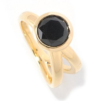 127-056 - Michelle Albala 1.20ctw Black Spinel Solitaire Trio Split Ring