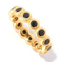 SS/P RING BEZEL-SET BLACK SPINEL TEXTURED ETERNITY BAND