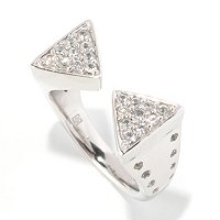 SS/PLAT RING PAVE WHITE SAPH DOUBLE TRIANGLE