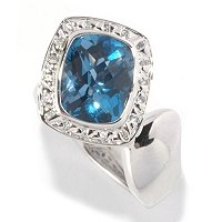 SS/P RING LONDON BLUE TOPAZ & WHT SAPH