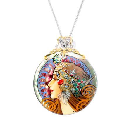 127-074 - Gems en Vogue II 50mm Hand Painted Mother-of-Pearl Maiden Warrior Pendant w/ Chain