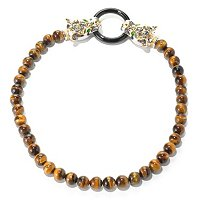SS/PALL NECK TIGER'S EYE & MULTI GEMSTONE PANTHER CLASP