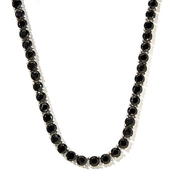 127-079 - Gem Treasures Sterling Silver Black Spinel Tennis Necklace