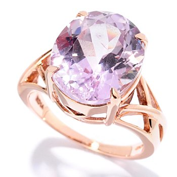 127-080 - Gem Treasures 14K Rose Gold 8.00ctw Oval Pink Kunzite Ring