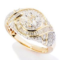 14K YG ROUND AND BAGUETTE CUT DIAMOND RING