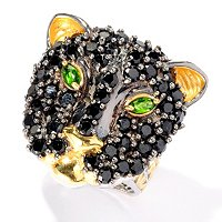 SS/PALL RING BLACK SPINEL & EXOTIC GEM PANTHER