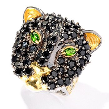 127-086 - Gems en Vogue II 4.08ctw Black Spinel & Chrome Diopside Panther Ring