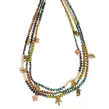 127-095 - Sweet Romance™ Gold-tone 32'' Multi Strand Crystal Bead Leaves Necklace