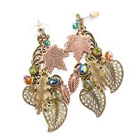 GOLDTONE AUTUMN LEAVES CRYSTAL EARRINGS