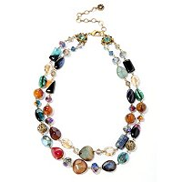 GOLDTONE AGATE AND CRYSTAL DOUBLE STRAND NECKLACE