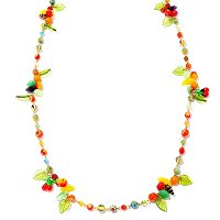 GOLDTONE 1940'S FRUIT SALAD NECKLACE