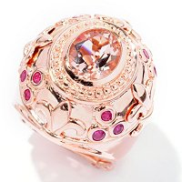 SS/RV OVAL MORGANITE WITH BUTY ACCENT RING