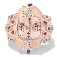 SS/RV CUSHION MORGANITE RING W/ RUBY