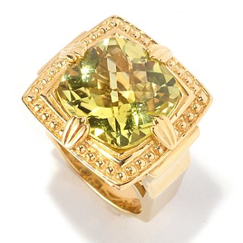 127-112 - Dallas Prince Designs 10.11ctw Yellow Oro Verde & Blue Zircon Large Square Ring
