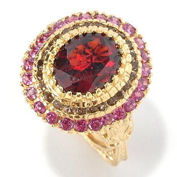 127-113 - Dallas Prince Designs 6.65ctw Oval Red Garnet & Gemstone Round Ring