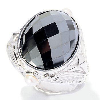 127-117 - Dallas Prince Designs Sterling Silver 17 x 13mm Oval Black Hematite & Gemstone Ring