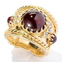 SS/YV GARNET AND WHITE SAPP RING