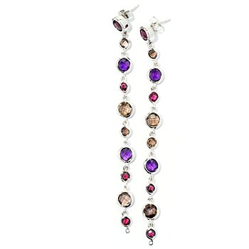 127-123 - Dallas Prince Designs Sterling Silver 11.72ctw Multi Gemstone 3.75'' Dangle Earrings