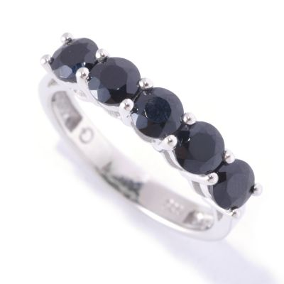 127-131 - Gem Treasures Sterling Silver 1.50ctw Black Spinel Five-Stone Ring