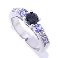 SS BLACK SPINEL SOLITAIRE WITH TANZ ACCENT RING