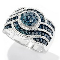 SS 1.10CTW BLUE DIAMOND RING W/ WHITE DIAMOND ACCENTS