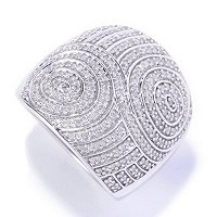 SS .75CT DIAMOND SWIRL RING