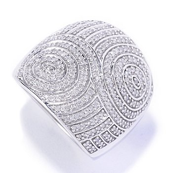 127-140 - Diamond Treasures Sterling Silver 0.75ctw Diamond Swirl Wide Ring