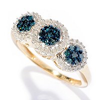 14K YG .5CT 3 STONE BLUE DIAMOND RING W/ WHITE DIAMOND