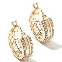 14K YG .5CT DIAMOND HOOP EARRINGS