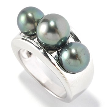 127-152 - Sterling Silver 7-8mm Semi-Round Black Tahitian Cultured Three Pearl Ring