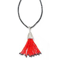 "SS Marcasite enhancer with Coral & Hematite tassel w/ 32"" Hemitate Necklace"