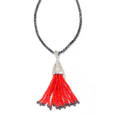 "127-153 - Dallas Prince Designs Sterling Silver Marcasite & Red Coral Enhancer Pendant w/ 32"" Hematite Chain"