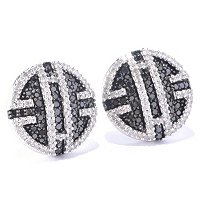 SS 1.00CTW BLACK & WHITE DIAMOND ROUND EARRINGS