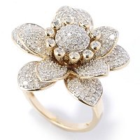 14K YG 1.75 CTW WHITE DIAMOND FLOWER RING