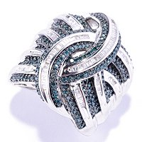 SS 1.00 CTW BLUE & WHITE DIMOND WIDE BAND RING