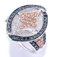 SS 1.33 CTW MARQUISE SHAPED RING WITH CHAMPAGNE, BLUE & WHITE DIAMONDS