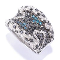 SS 2.00CTW BLACK DIAMOND RING W/ BLUE & WHITE DIA ACCENTS