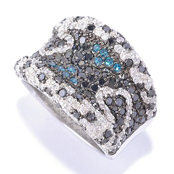 127-173 - Diamond Treasures Sterling Silver 2.00ctw Multi-Color Diamond Wide Band Ring