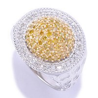 SS 1.00CTW ROUND CHOICE DIAMOND RING W/ WHITE DIAMONDS